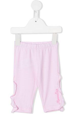 MONNALISA Baby Leggings - Ruffle-trim embroidered-logo leggings