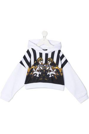 Balmain Mix-print cotton hoodie