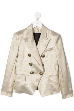 Balmain Girls Blazers - Metallic-effect double-breasted blazer