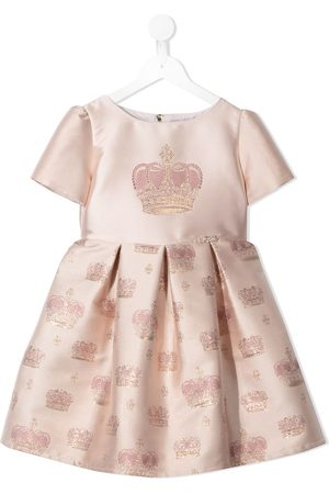 Lesy Girls Printed Dresses - Crown pattern jacquard dress