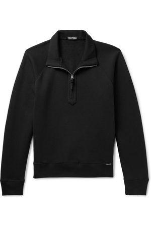 Tom Ford Men Sweatshirts - Garment-Dyed Cotton-Jersey Half-Zip Sweatshirt