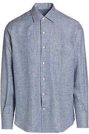 Loro Piana Andre Micro Check Linen Sport Shirt
