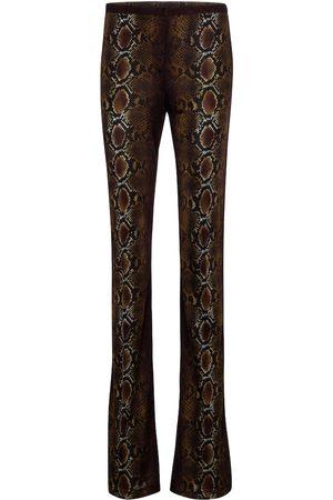 VERSACE Python-print jersey flared pants