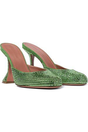 Amina Muaddi Women Sandals - Emili embellished suede mules