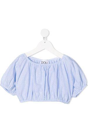 DOUUOD KIDS Girls Crop Tops - Stripe-pattern cropped top