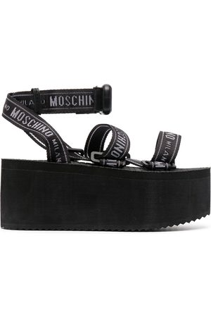Moschino Women Sandals - Logo-strap flatform sandals