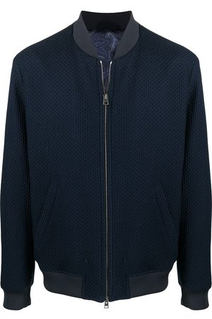 Etro Men Bomber Jackets - Honeycomb jersey bomber jacket