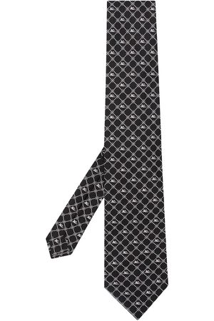 Etro Men Bow Ties - Geometric-print silk tie