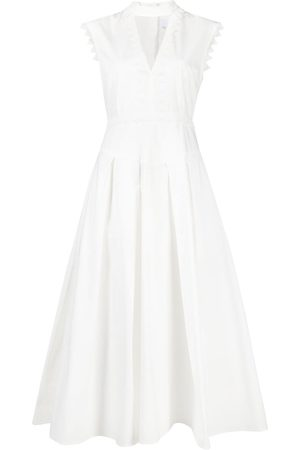 Msgm Women Midi Dresses - Crochet-trim flared midi dress