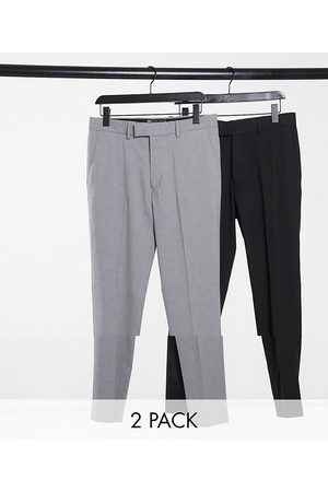 ASOS 2 pack skinny trousers in black and grey