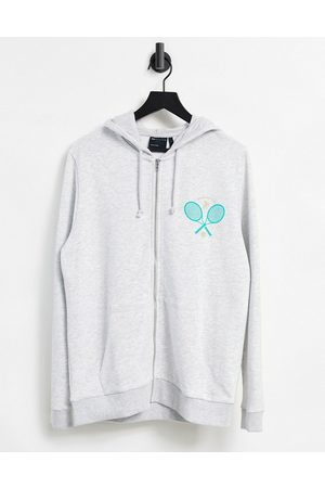 ASOS Oversized zip up hoodie with Miami chest print