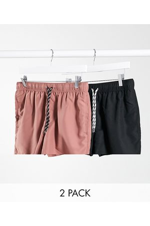 ASOS 2 pack swim shorts in pink and black short length save
