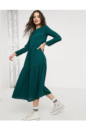 ASOS Long sleeve tiered smock midi dress in forest