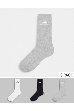 adidas Men Underwear - Adidas Running 3 pack cushioned crew socks in multi