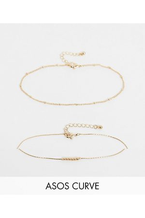 ASOS ASOS DESIGN Curve pack of 2 fine ball charm anklets in tone
