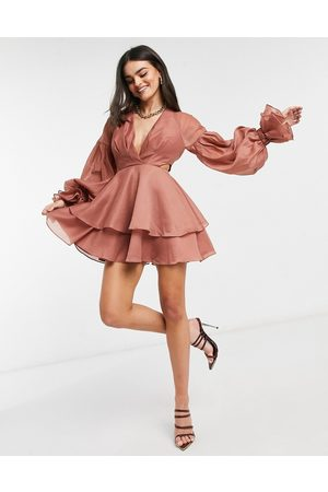 ASOS Pleated mini dress with blouson sleeve and cuff detail in rose