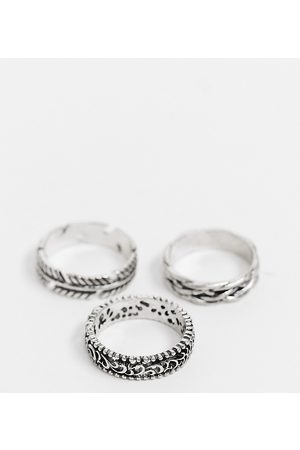 Reclaimed Vintage Inspired ring multipack with feather detail in