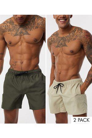 ASOS 2 pack swim shorts in khaki & stone mid length save