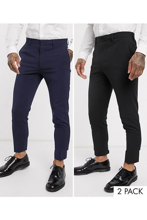 ASOS 2 Pack super skinny trousers in black and navy