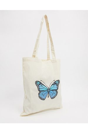 ASOS Canvas shopper bag with 90s butterfly print