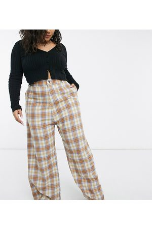 Daisy Street High waist wide leg trousers in check co-ord