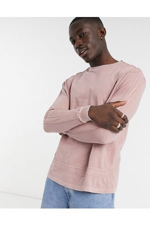ASOS Relaxed organic long sleeve t-shirt in acid washed with taping