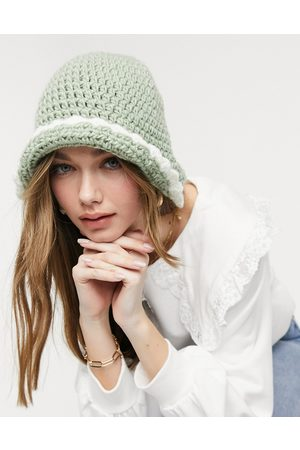 ASOS Crochet knitted bucket hat in sage and cream-Multi