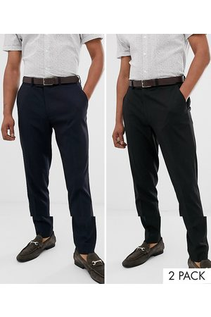 ASOS 2 pack skinny smart trousers in black and navy SAVE