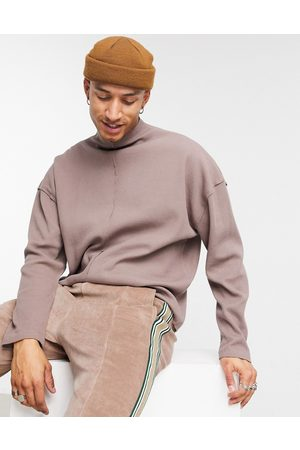 ASOS Oversized waffle roll neck in brown