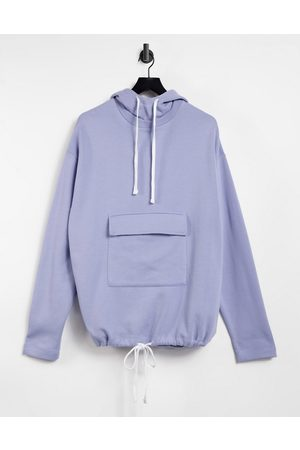 ASOS Oversized hoodie with tie hem and pocket in purple