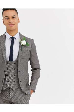 ASOS Wedding super skinny suit jacket in micro texture in grey