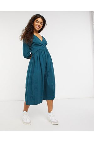 ASOS Midi smock dress with wrap top in forest