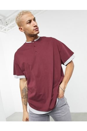 ASOS Oversized double layer t-shirt with granddad neck burgundy