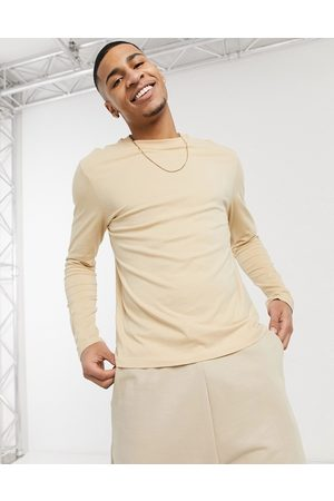 ASOS Long sleeve t-shirt with crew neck in beige