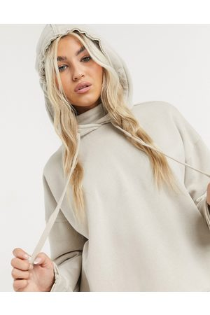 Noisy May Premium hoodie with high neck in stone