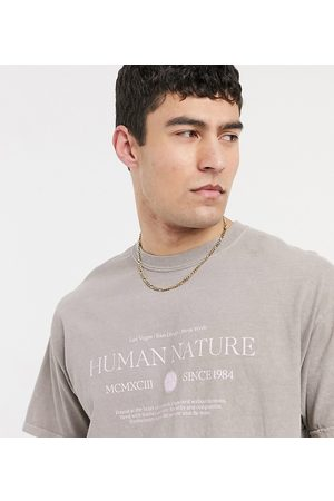 New Look Oversized t-shirt with human nature print in overdye light
