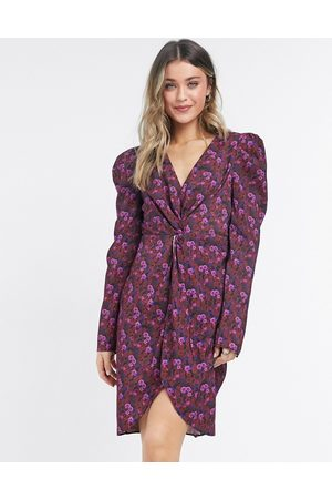 NA-KD Floral print knot front mini dress in