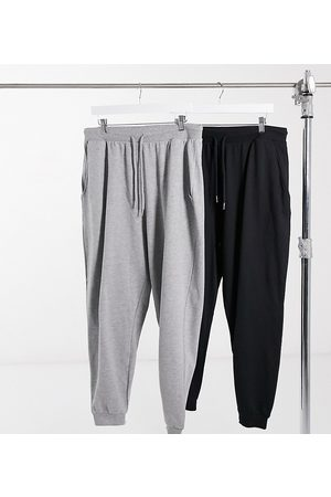 ASOS ASOS DESIGN Curve basic jogger with tie 2 pack in black and grey