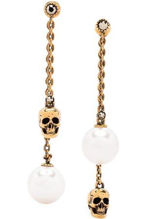 Alexander McQueen Pearl-embellished skull pendant earrings