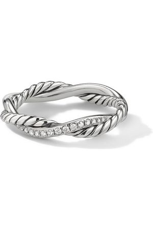 David Yurman 4mm sterling petite Infinity pavé diamonds twisted ring