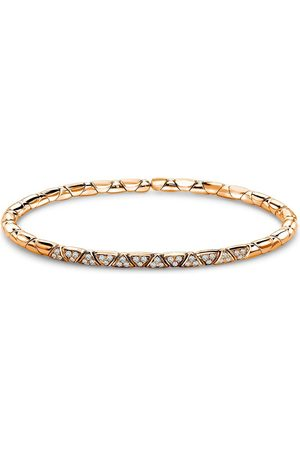 Pragnell 18kt rose diamond Groove textured bangle bracelet
