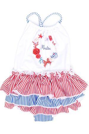 MONNALISA Baby Swimsuits - Striped ruffled swimsuit