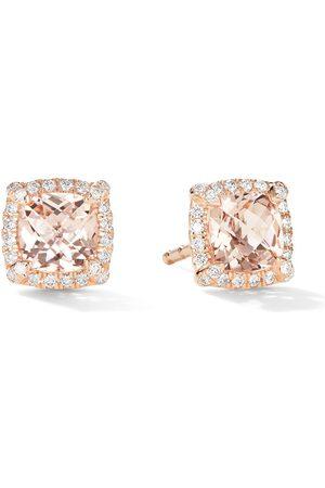 David Yurman 5mm 18kt rose Petite Chatelaine morganite and pavé diamond stud earrings