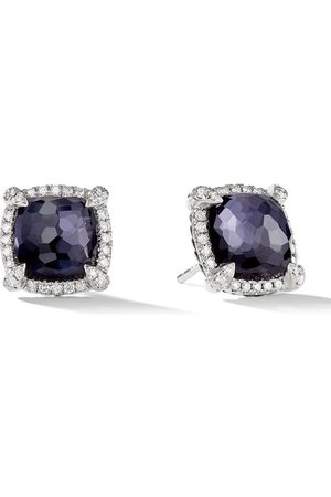 David Yurman Sterling Chatelaine pavé diamond and black orchid stud earrings