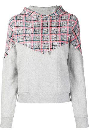 Karl Lagerfeld Bouclé-panel cotton hoodie