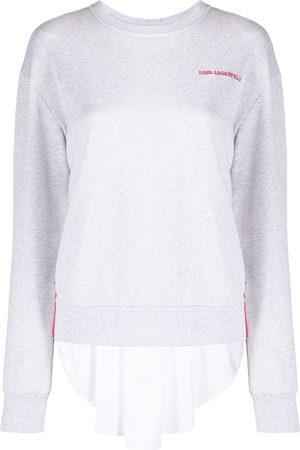 Karl Lagerfeld Women Sweatshirts - Embroidered-logo pleated-panel sweatshirt