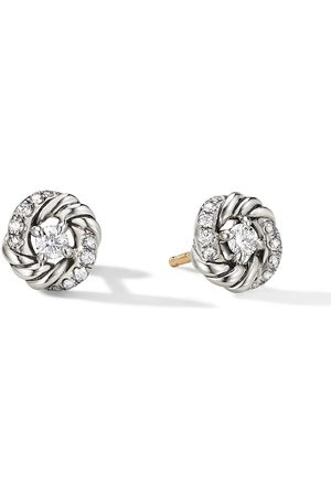 David Yurman 8mm sterling petite Infinity diamond stud earrings