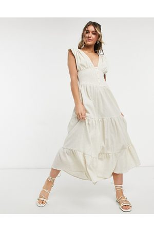 ASOS Shirred waist button front tiered midi sundress in crinkle in oatmeal