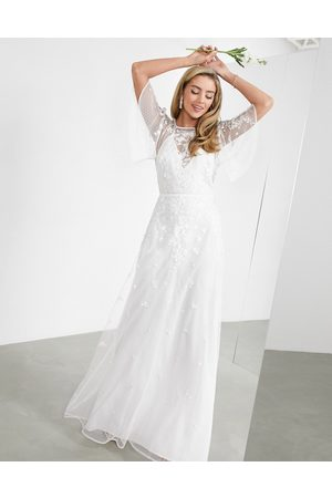 ASOS Women Printed Dresses - Annie floral embroidered flutter sleeve wedding dress