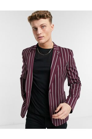 ASOS Men Blazers - Skinny blazer with wide stripe and gold button in burgundy